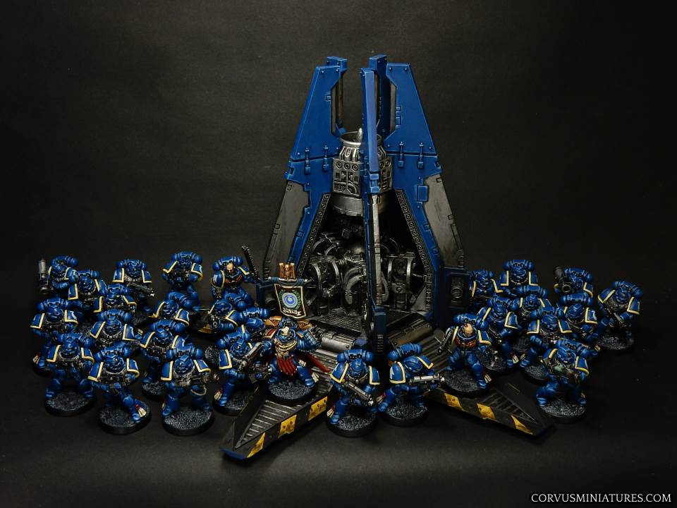 Ultramarines unit with commander and drop pod